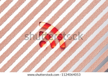 Red Rss Feed Icon on the Gray Stripe Pattern. 3D Illustration of Red Blog, Feed, News, Rss Icon Set With Stripes Gray Background.