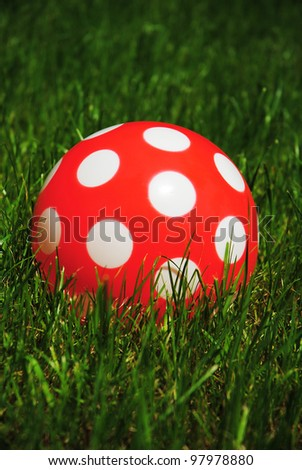 red rubber ball with speckles, green grass