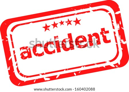 red rubber stamp with accident word, raster
