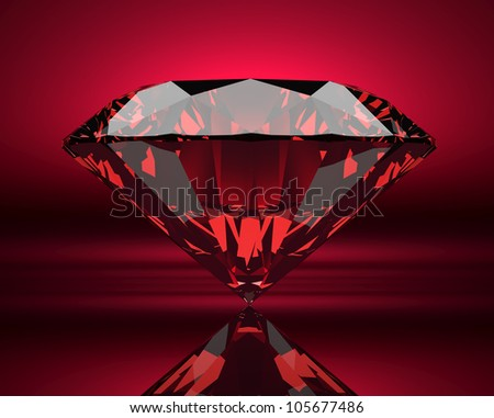Red ruby on abstract background
