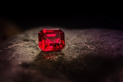 Red Ruby. Precious Red Gemstone