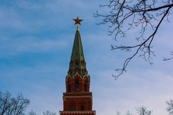 Red ruby star. Moscow Kremlin tower. UNESCO World Heritage Site. Blue sky background.