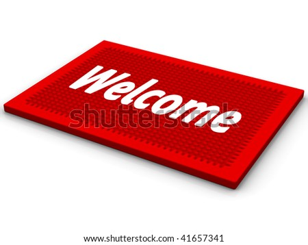 Red rug with a salutatory word Welcome