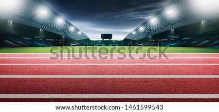 Red running tracks in a stadium. 3D Rendering