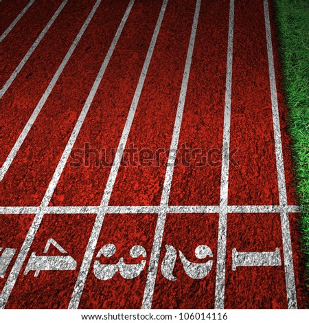 red running tracks with white start numbers at stadium closeup
