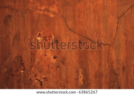 red rusty vintage cracked concrete wall