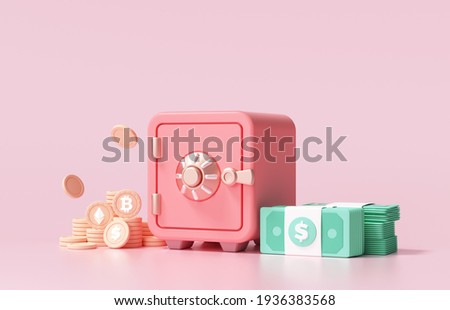 Red Safe box with bitcoin cryptocurrency coins and stacks of dollar cash font view on pink background. 3d render illustration