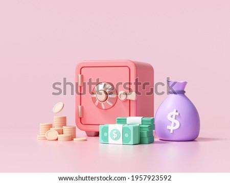 Red Safe box with coins and stacks of dollar cash font view on pink background. 3d render illustration