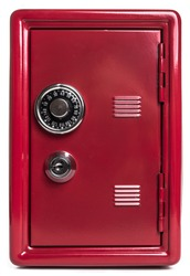 Red safe deposit box on a white background