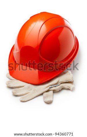 Red safety helmet with gloves