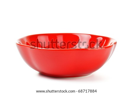 red salad bowl isolated on white background