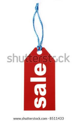 Red sale label isolated on white