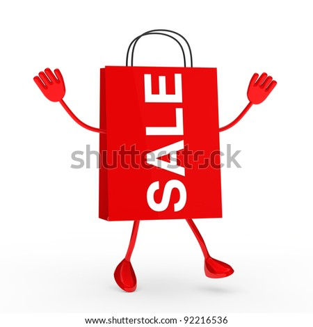 Red sale percent bag wave and jump