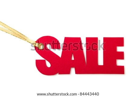 Red Sale Tag Isolated On White