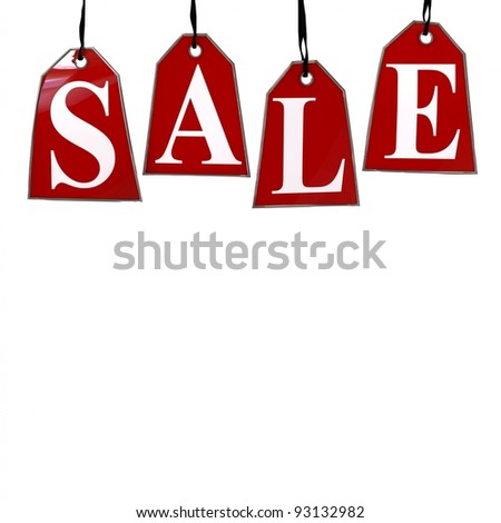 Red Sale Tags. Four red tags with the letters S,A,L,E on them hanging on hooks isolated on white.