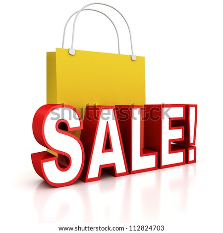 red sale text with yellow shopping bag