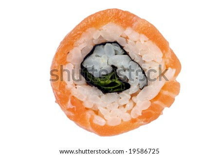 Red salmon sushi on the white background