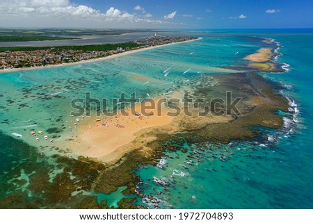 Red sand island that appears at low tide, is one of the major tourist attractions of the state. Cabedelo, near João Pessoa, Paraíba, Brazil on November 15, 2012. Aerial view. Сток-фото ©