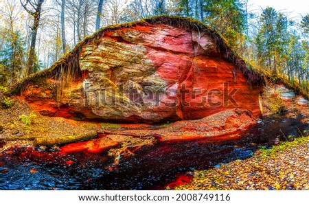 Red sand rock in the autumn forest by the stream. Red rock stream in autumn forest. Autumn red rock stream