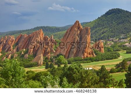 Red sandstone in Roxborough State Park in Colorado
