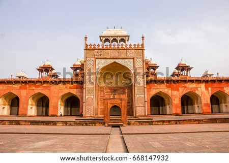 red sandstone mughal architecture akbar s tomb at sikandra a unesco