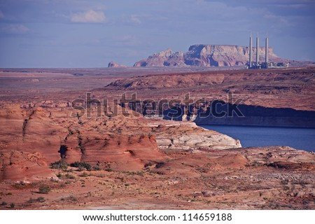 Red Sandstones and Lake Powell in Page, Arizona. Navajo Generating Station in a Distance. Arizona Photography Collection.