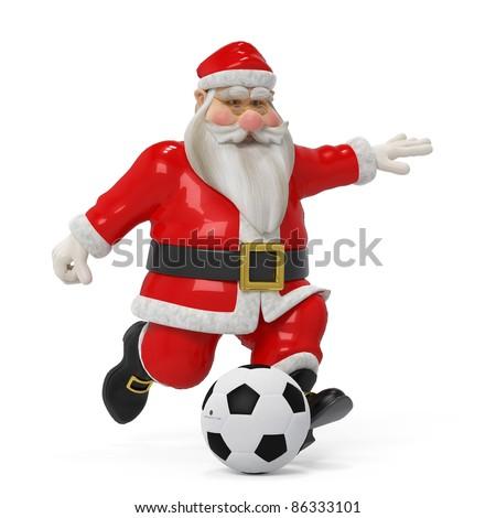 red santa cartoon footballer