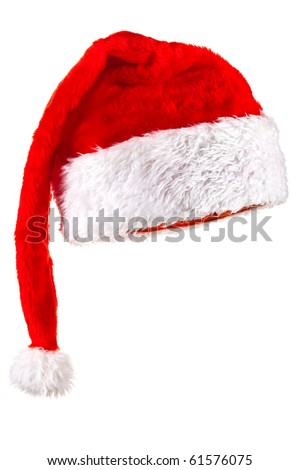 Red Santa Claus Hat. Isolated on white.