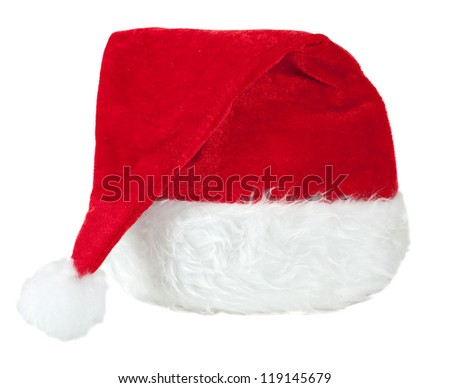 Red Santa Claus hat on a white background, isolated