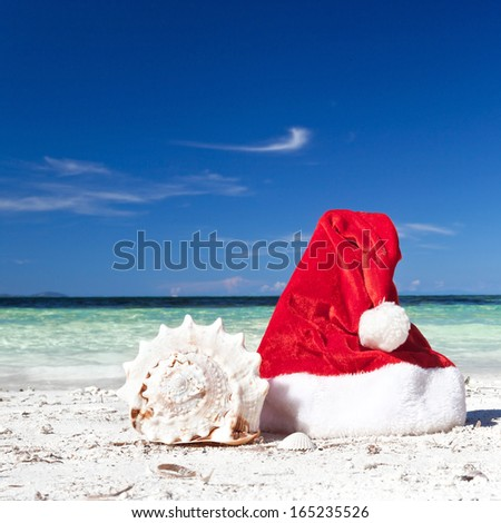Red Santa Claus hat on beach with seashell, Travel Christmas concept #165235526