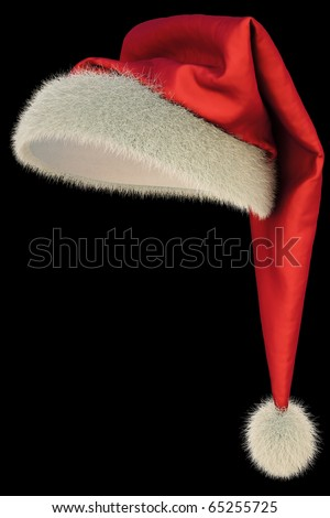 red Santa Claus hat on black background including clipping path