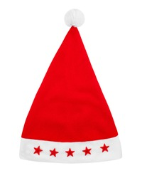 Red Santa Claus hat with fur pom pom & stars white background isolated closeup, Father Frost cap, traditional Christmas party clothing accessory, New Year holidays costume, xmas symbol, design element