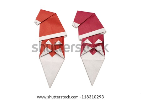 Red Santa Claus (origami, isolated)