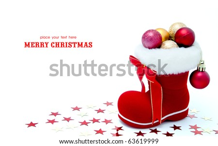Red Santa's boot with copyspace isolated on white background