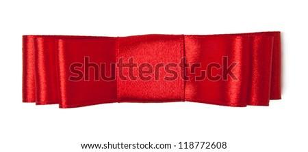 Red satin bow on white background - stock photo