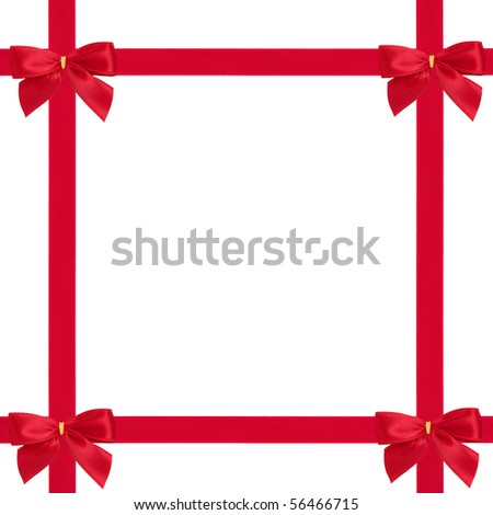 Red satin ribbon and bow gift box wrapping  isolated over white background. - stock photo