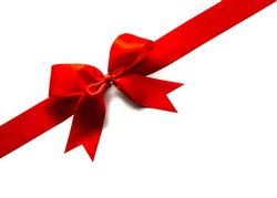 Red satin ribbon and bow isolated on white