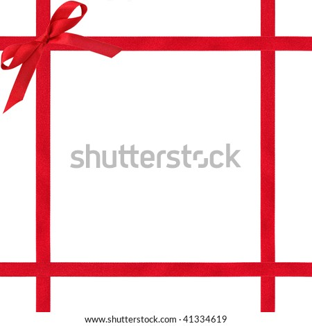 Red satin ribbon border with bow, over white background.