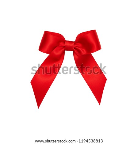 Red satin ribbon bow cut out isolated on white background, gift wrapping silk bow