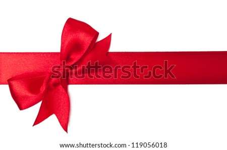 Red satin ribbon on white background