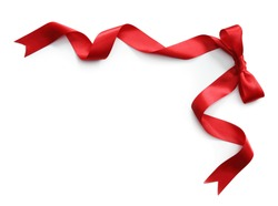 Red satin ribbon with bow isolated on white background