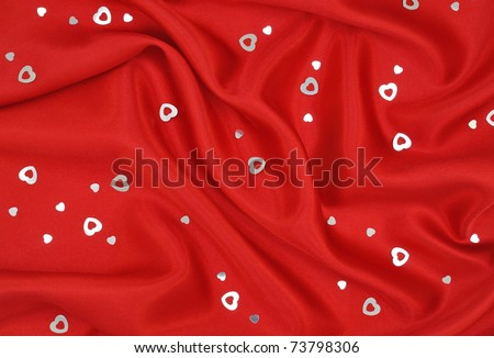 Red Satin with Silver Hearts