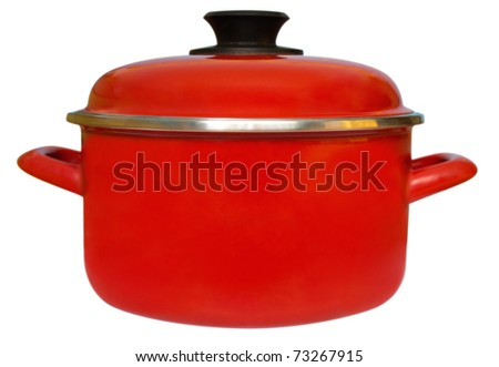 Red saucepan isolated on white background. Clipping path included.
