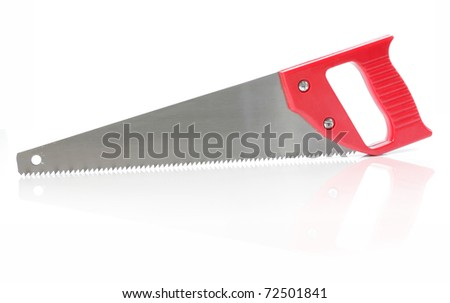 red saw blade over white background
