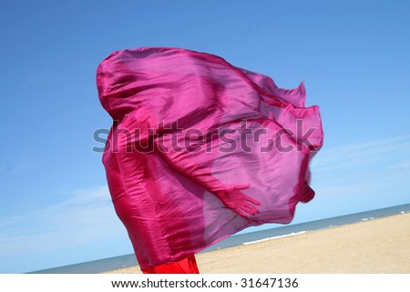 Red scarf on wind - stock photo