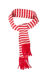 Red scarf stripped design tied and isolated on white background.Christmas decor element.New year symbol.Holiday sign.