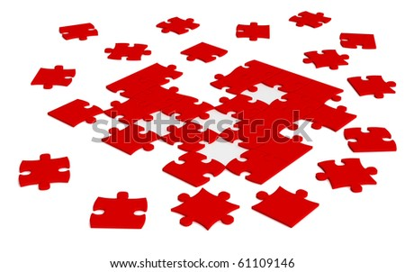 red  scattered  jigsaw puzzle pieces