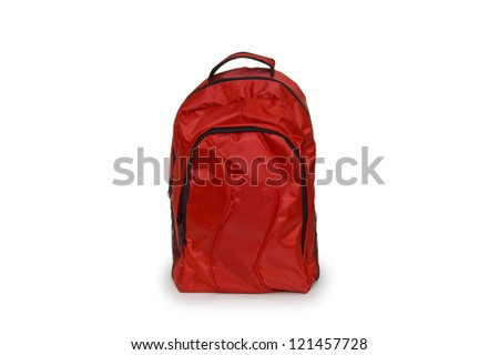 Red school backpack isolated on white  background
