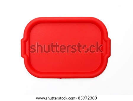 Red School Lunch Serving Tray / Plate isolated on white background