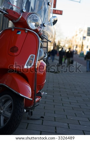 Red Scooter in Amsterdam Street